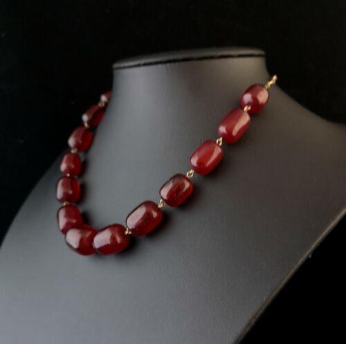 Vintage Art Deco Cherry Red bakelite necklace, beadex
