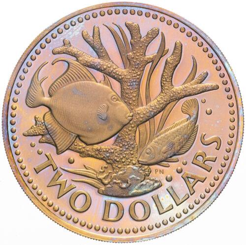 1974 BARBADOS TWO DOLLARS DEEP GOLDEN PURPLE MONSTER COLOR TONED BU UNC GEM (MR)