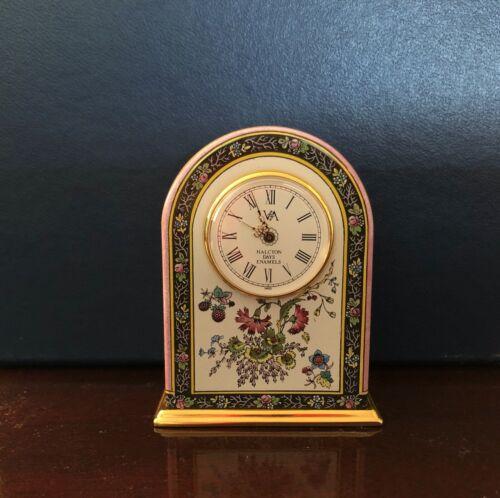 Halcyon Days Brass & Enamel Miniature Clock -Authentic Vintage