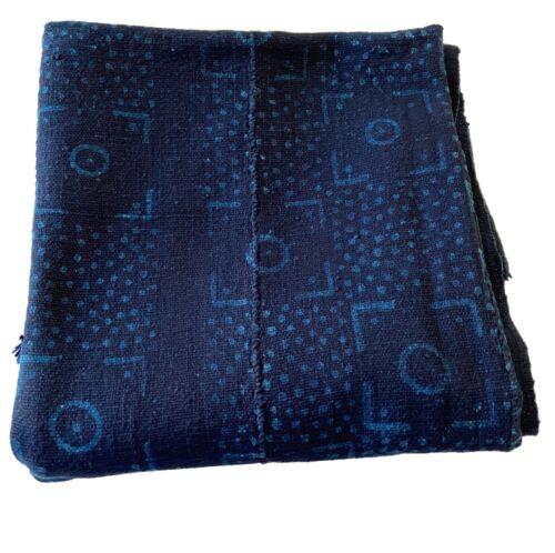 """Superb Vtg  Mali Indigo Mud Cloth Textile 38"""" by 59.5"""""""