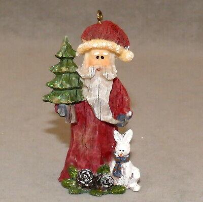 "Christmas Ornament Ceramic SANTA w/ RABBIT & Tree & PINE CONE 3"" USA SELLER"