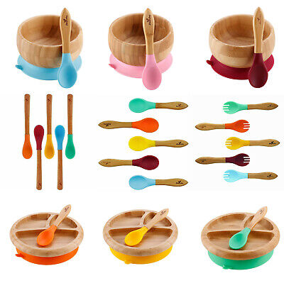 Avanchy Organic Bamboo Baby Bowl or Plate with Suction + Spoon ~ Utensil Set