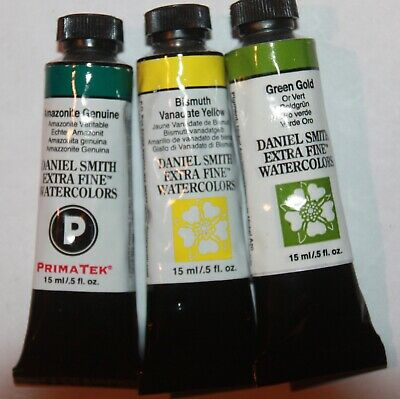 Green Watercolour - 3 DANIEL SMITH Extra Fine Watercolor Paint:15ml-AMAZONITE,GREEN GOLD & YELLOW-2