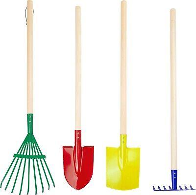 Gartenwerkzeug-Set Kunterbunt Gartengeräte für Kinder Gartenset Holz Schaufel