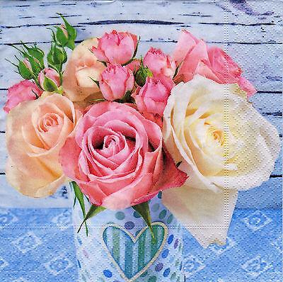 4 lose Servietten Napkins Rose Rosen  Shabby online kaufen
