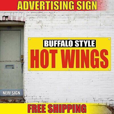 Hot Wings Banner Advertising Vinyl Sign Flag Food Restaurant Dog Buffalo Style