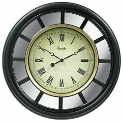 82009 Equity by La Crosse 22 Black Plastic Frame with Mirror Analog Wall Clock