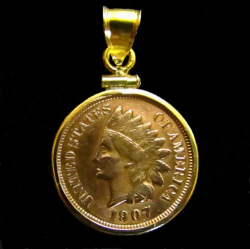 Coin Pendant Vintage Indian Cent Reeded Edge Gold Filled Bezel Soldered Bail