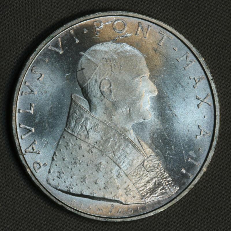 1964 Vatican City Italy 500 Lire Lira Silver BU UNC MS GEM SK167