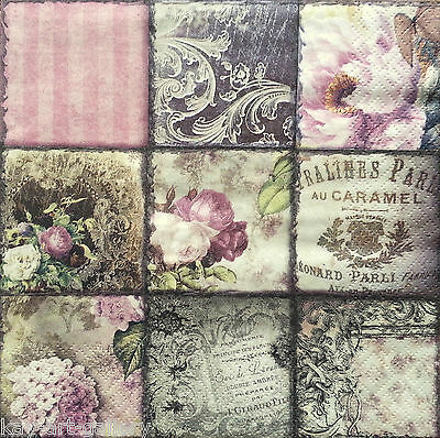 4 x Single Table Paper Napkins / Craft / Lunch / for Decoupage / VINTAGE / Party