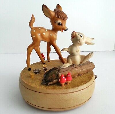 Walt Disney Productions Bambi & Thumper Music Box Vintage Made In Italy By Anri