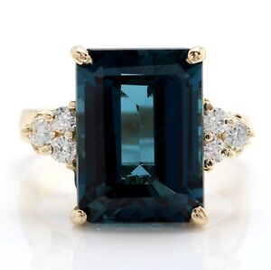 eba7a6005 8.30 Carat Natural London Blue Topaz and Diamonds in 14K Solid Yellow Gold  Ring