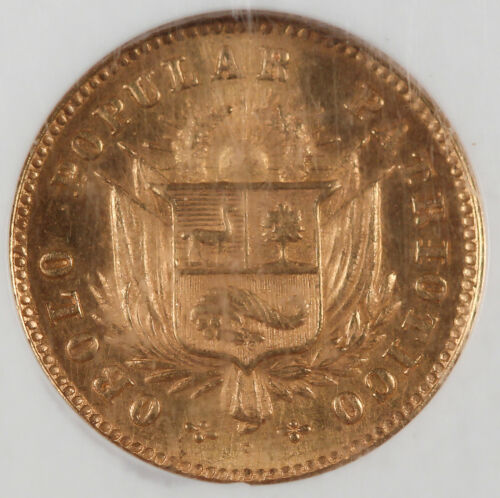 Peru 1910 5 Soles Gold Coin NGC MS63 GEM BU Fr-76 KM-Tn2 Scarce 1 Year Type