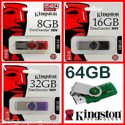 KINGSTON 8GB 16GB 32GB 64GB USB 2.0 MEMORY STICK G2 PEN FLASH DRIVE CARD CAPLESS