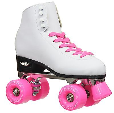 White Epic Classic High-Top Quad Roller Skates with Pink Out