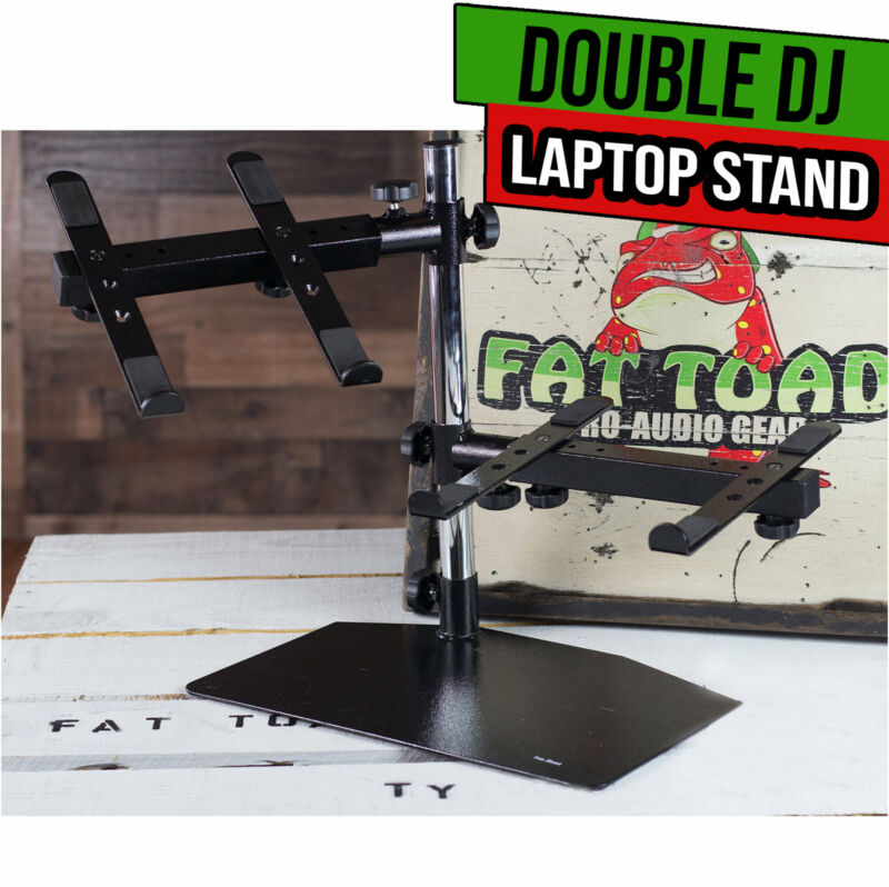 DJ Double Computer Laptop Stand - Duel Mount Holder Studio Mixer Controller Gear