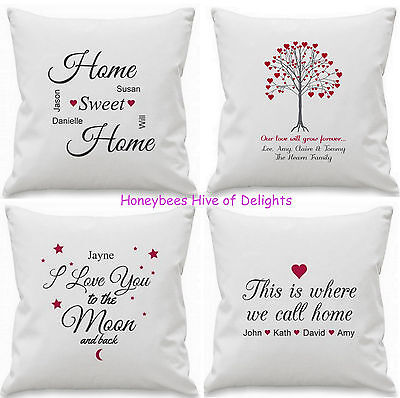 PERSONALISED Cushion Cover Gift Idea For Wedding Couple HOME Decor Birthday Xmas ()