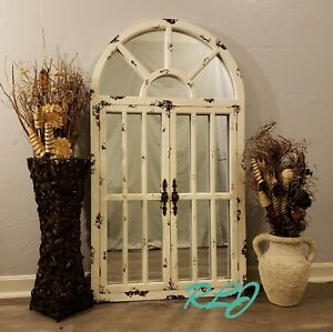 Distressed Rustic Country Arched Window Door Wood Mirror Vintage Wall Art Decor