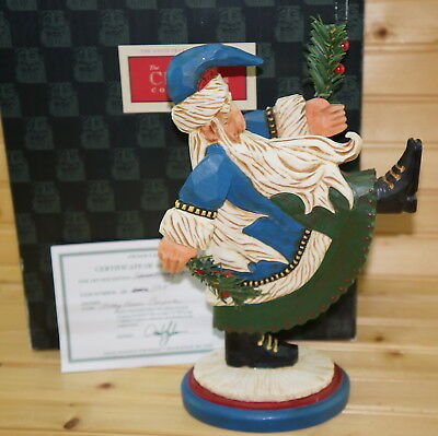 "David Frykman DF1109 Blue Santa Marching with Tree, 11"", In Box"