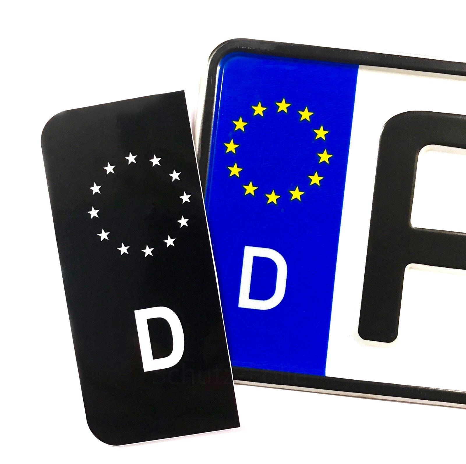 2x EU Nummernschild - Kennzeichen - Aufkleber - schwarz