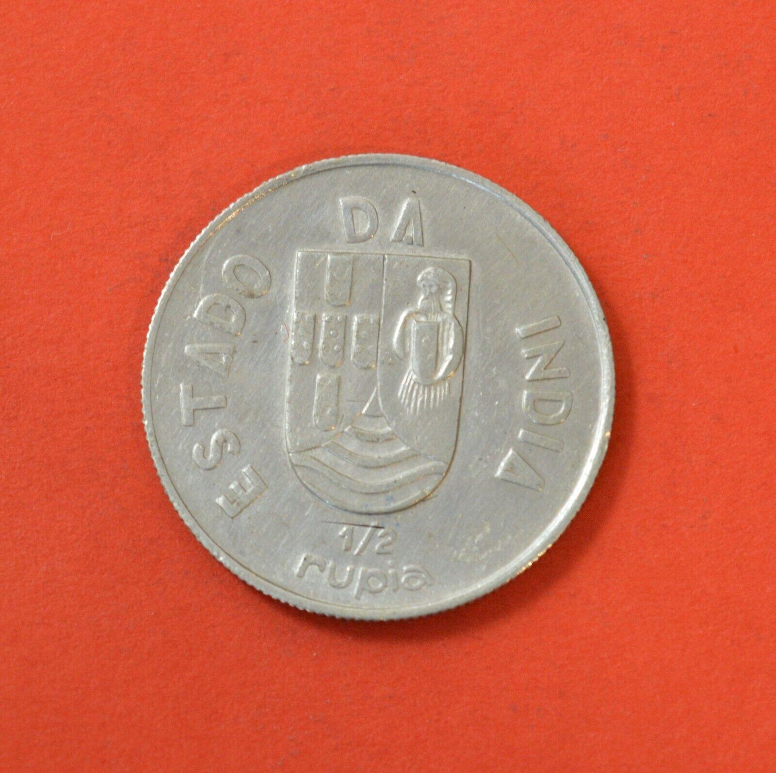 INDIA (PORTUGUESE) 1/2 RUPIA 1936, Silver Coin   [#8463]