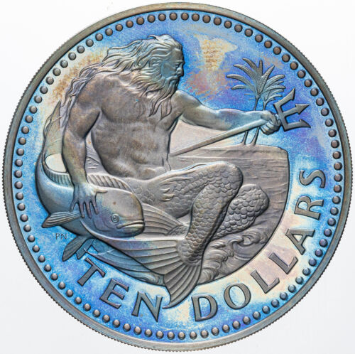 1980 BARBADOS TEN DOLLARS SILVER UNC INTENSE BLUE COLOR TONED MONSTER BU (MR)