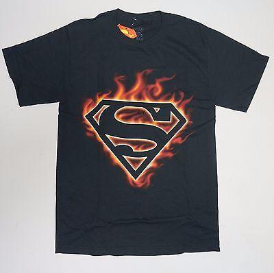 Super man Symbol DC Comics Fire Black dark glow NWOT Small - 3XL  - Super Man Symbol