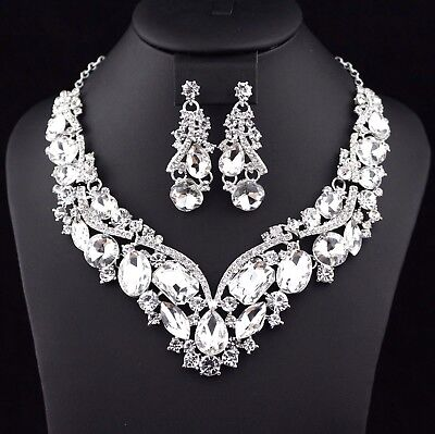 Elegant Clear Austrian Crystal Rhinestone Necklace Earrings Set Bridal Prom N35