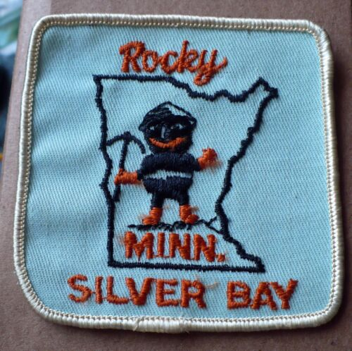 """VINTAGE ROCKY MINNESOTA SILVER BAY 3 1/8"""" SQUARE EMBROIDERED PATCH MINING"""
