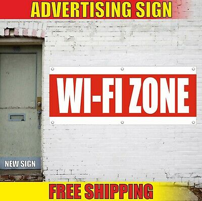 Wi-fi Zone Banner Advertising Vinyl Sign Flag Internet Free Cafe Hotel Event Bar