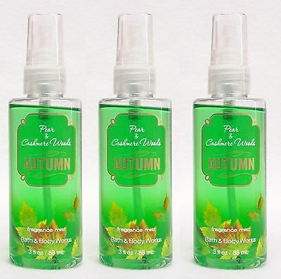 3 Bath Body Works PEAR & CASHMERE WOODS AUTUMN Travel Size Mist mini Spray