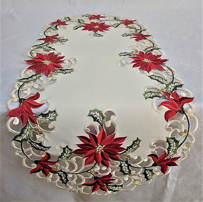Doily Boutique Table Runner, Doily, Mantel Scarf with Christmas Red Poinsettia](Red Christmas Table Runner)