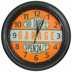 Big Daddy's Garage Clock W/ LED Lights, 12 Round, Man Cave Bar Home Wall Decor