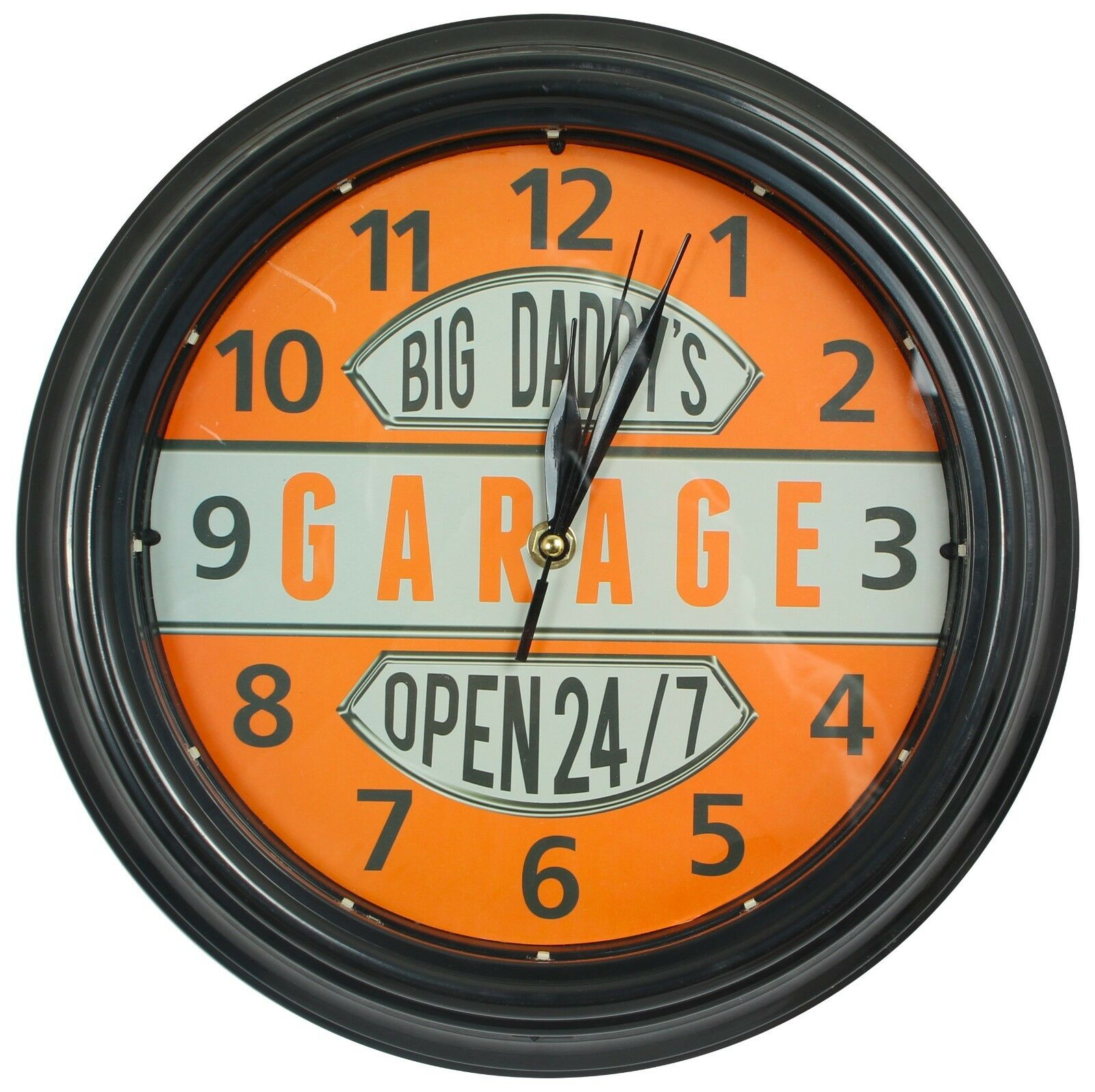 "Big Daddy's Garage Clock W/ LED Lights, 12"" Round, Man Cave"