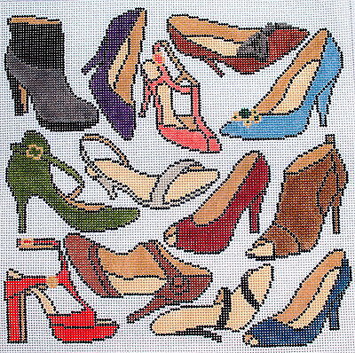 Shoes Hand Painted Needlepoint Canvas