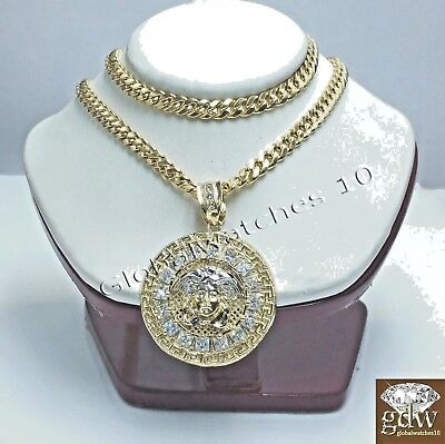 "Real 10k Yellow Gold Medusa Charm 24""  Miami Cuban Chain Necklace Men Women"