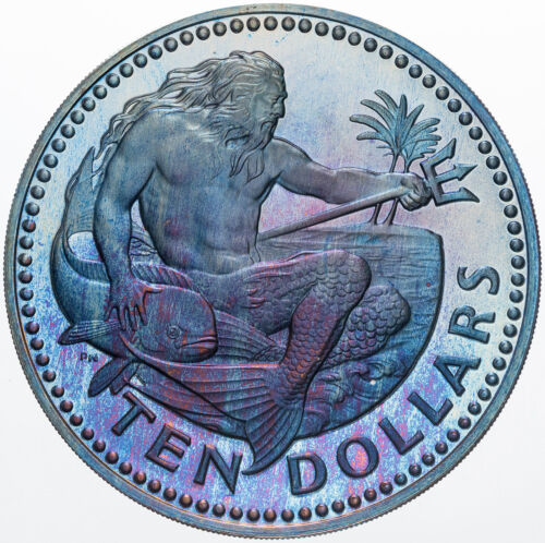 1973 BARBADOS TEN DOLLARS SILVER DEEP PURPLE BLUE COLOR BU TONED CHOICE UNC (MR)
