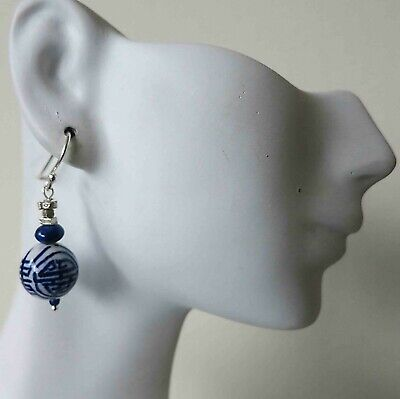 Vintage Chinese Hand Painted Blue White Porcelain SHOU Double Happiness Earrings