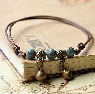 ☆ Fußkette Fußkettchen | türkise Perlen | Länge einstellbar | Leder ☆