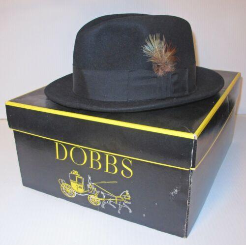 VINTAGE DOBBS STETSON BLACK DUTTON FEDORA HAT MEN'S SIZE 7 1/8 WITH ORIGINAL BOX