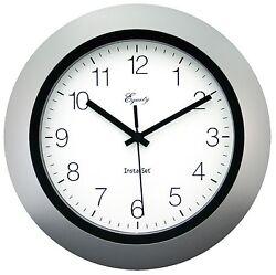40222S Equity by La Crosse Insta-Set 10 Analog Wall Clock - Silver