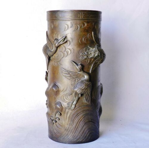 Superb Meiji-era Japanese Bronze Vase Cranes & Waves High-Relief Antique