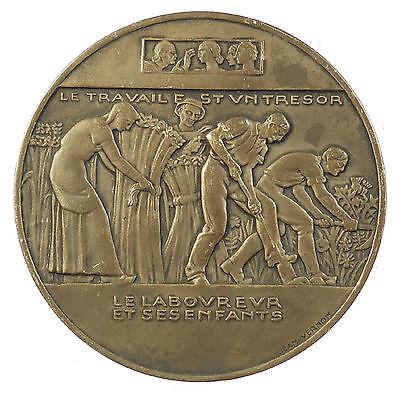 Fontaine Bronze - France La Fontaine's fable LE LABOUREUR ET SES ENFANTS By Vernon silvered-bronze