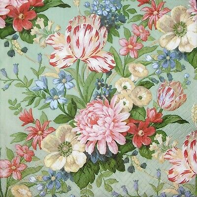 3 x Single Paper Napkins For Decoupage Craft Tissue Calm Garden Flowers M238