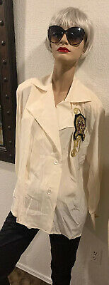 70s Gianfranco Ferre Vintage Embroidered Embellished Cream Silk Blouse Top 38