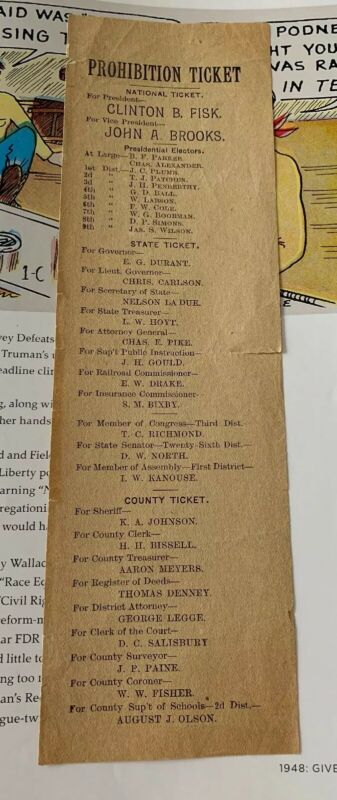 1888 Fisk Brooks National Prohibition Campaign Ticket Paper Ballot Political