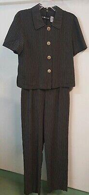 Sag Harbor Size 10 Short Sleeve Black Pinstripe 2 Piece Pants Suit Womens Career