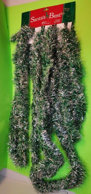 VINTAGE Green & Silver tinsel Christmas garland 15 ft Santa