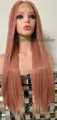 "Rose Gold Pastel Pink Wig Swiss Lace Front Straight 26"" Long Heat Resistance Ok"