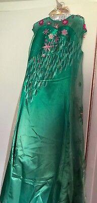 FROZEN FEVER ELSA 12 Chasing Fireflies Dress Green Anna Gown Girls - Anna Green Dress Kostüm